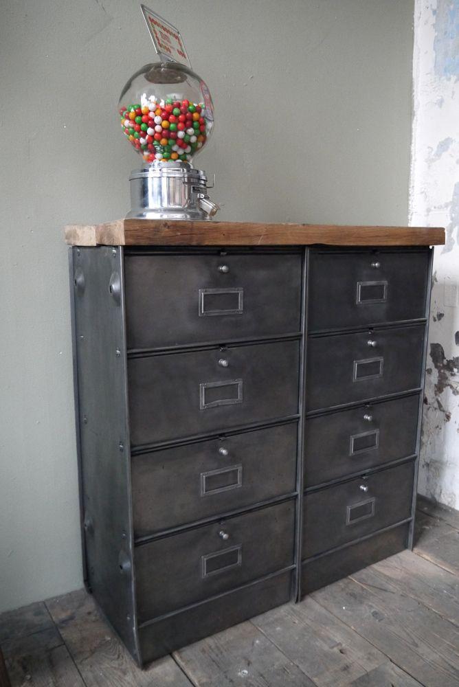 meuble console 8 casiers industriel clapet roneo plateau chene massif restauration. Black Bedroom Furniture Sets. Home Design Ideas