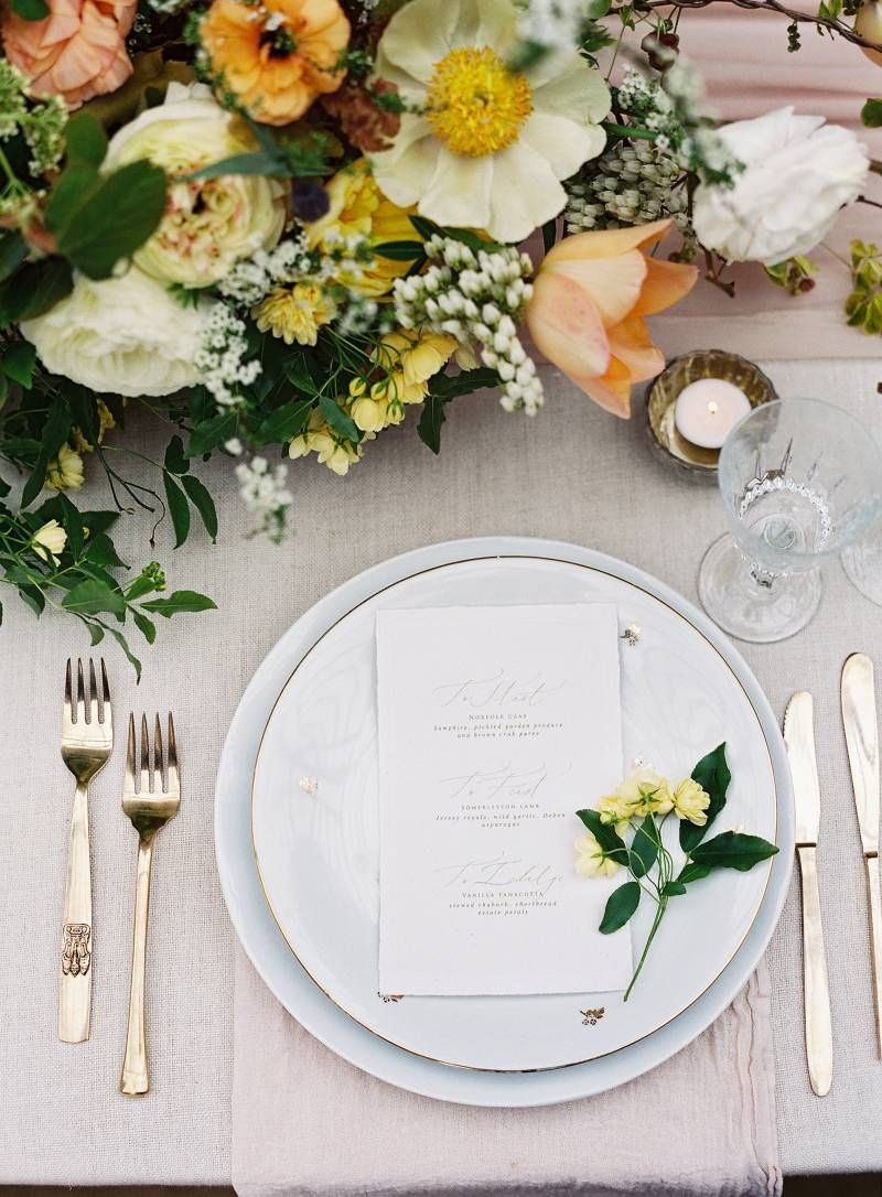 Yellow & peach spring wedding ideas at a stately British home via ...
