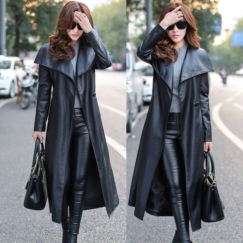 Vogue Street Style Women's Long Faux Leather Trench Coats