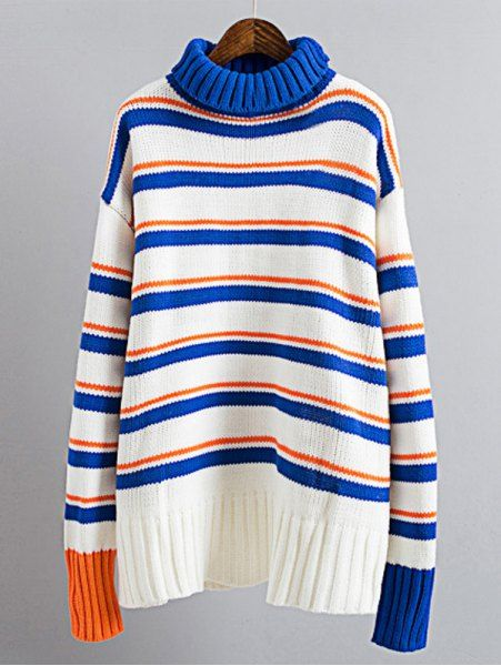 Color Block Drop Shoulder Turtleneck Sweater