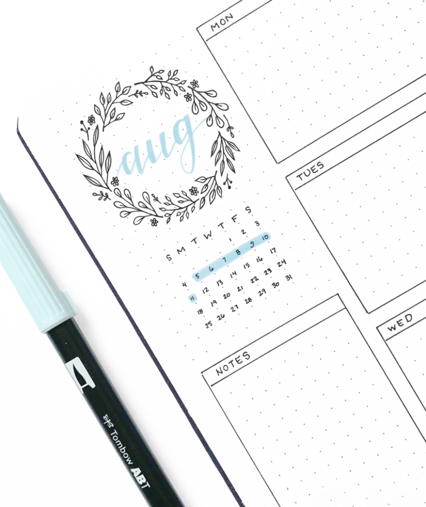 August bullet journal details #augustbulletjournal