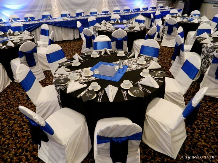 Damask Black Royal Blue And White Wedding