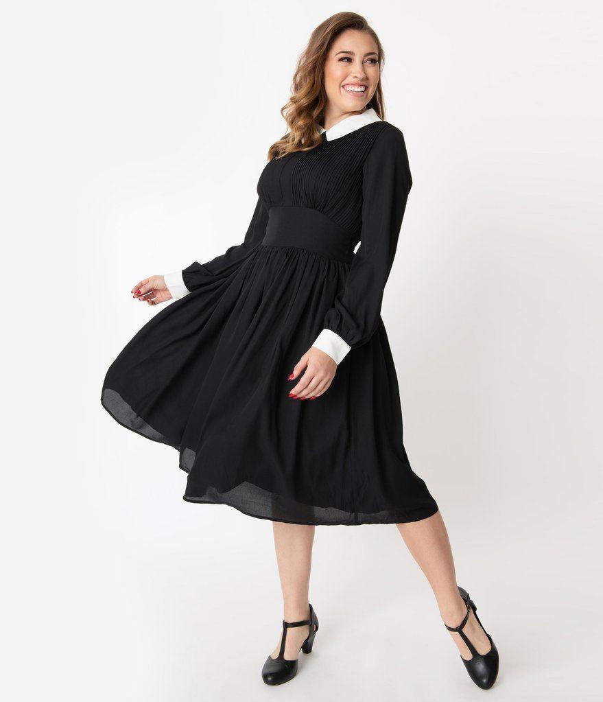 Unique Vintage 1940s Style Black White Deirdre Shirt Dress Hostess Dresses Unique Dresses 1940s Fashion [ 1023 x 879 Pixel ]