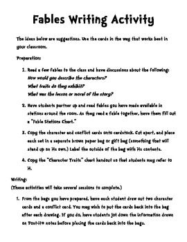 fable writing topics