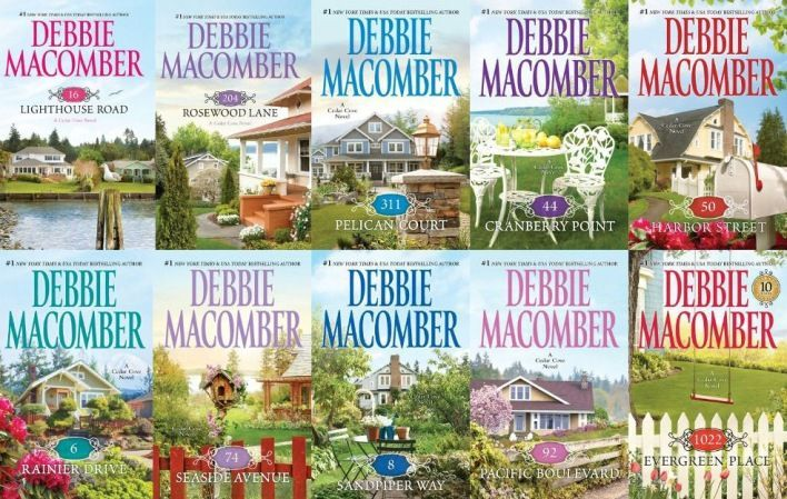 Debbie Macomber - Cedar Cove Series  Cedar Cove Series:  1. 16 Lighthouse Road (2001) 2. 204 Rosewood Lane (2002) 3. 311 Pelican Court (2003) 4. 44 Cranberry Point (2004) 5. 50 Harbor Street (2004) 6. 6 Rainier Drive (2006) 7. 74 Seaside Avenue (2007) 8. 8 Sandpiper Way (2008) 9. 92 Pacific Boulevard (2009) 10. 1022 Evergreen Place (2010)  A Cedar Cove Christmas (2008) #Christmas #thanksgiving #Holiday #quote