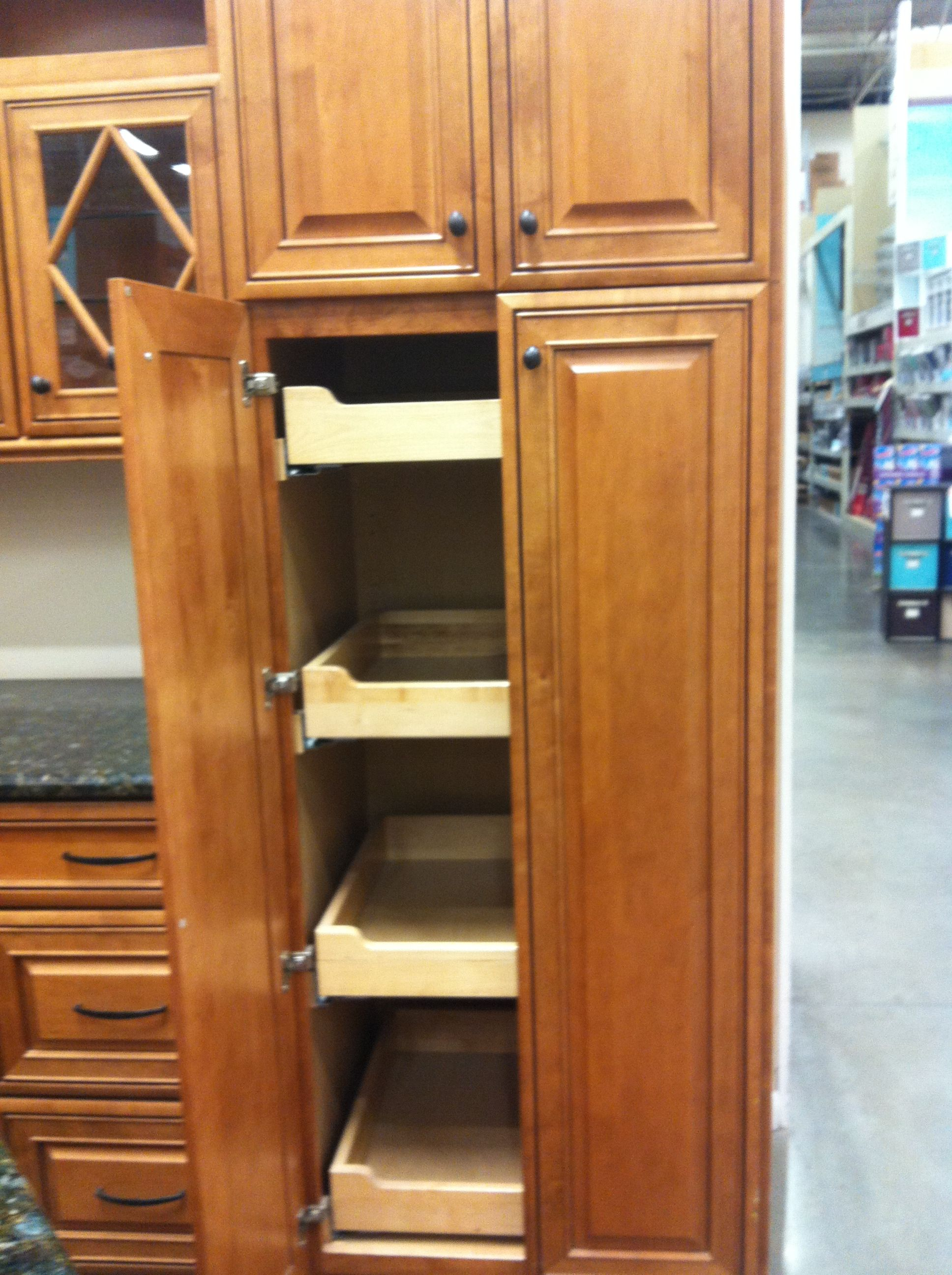 Tall kitchen with pullout drawers. (With images