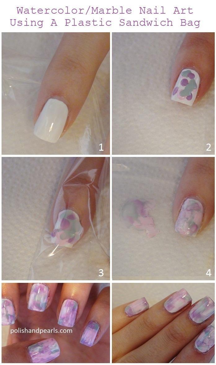 Marble Nail Art Using A Plastic Sandwich Bag Nails Tutorials