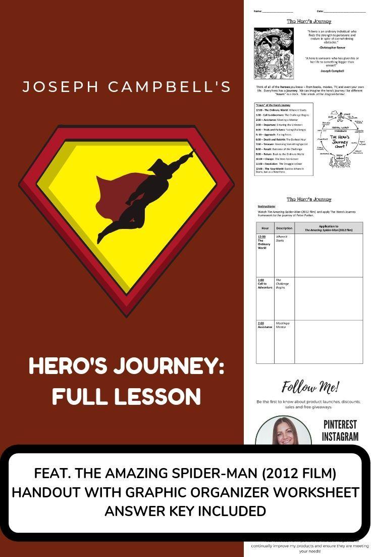 Joseph Campbell S Hero S Journey Lesson The Amazing Spider Man Ela Worksheets Lesson Ela Writing Hero S Journey