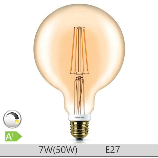 Bec LED Philips Clasic 7W E27 G120 Gold http://www.etbm.ro/tag/148/becuri-led-e27