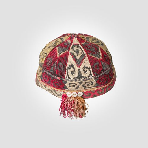 Hat Object Use: Clothing, Headwear Object Class: Fiber Media Support: Silk, cotton, buttons Keywords: Dimensions: 4 1/4 in. x 6 in. x 6 in. (10.8 cm x 15.24 cm x 15.24 cm) Creation Date: Century: 20th Century Period: c. Early 20th Century Culture: Uzbek Creation Place: Asia, Uzbekistan, Central Asia