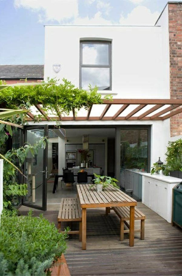 Covered terrace 50 ideas for patio roof of modern houses Tuin