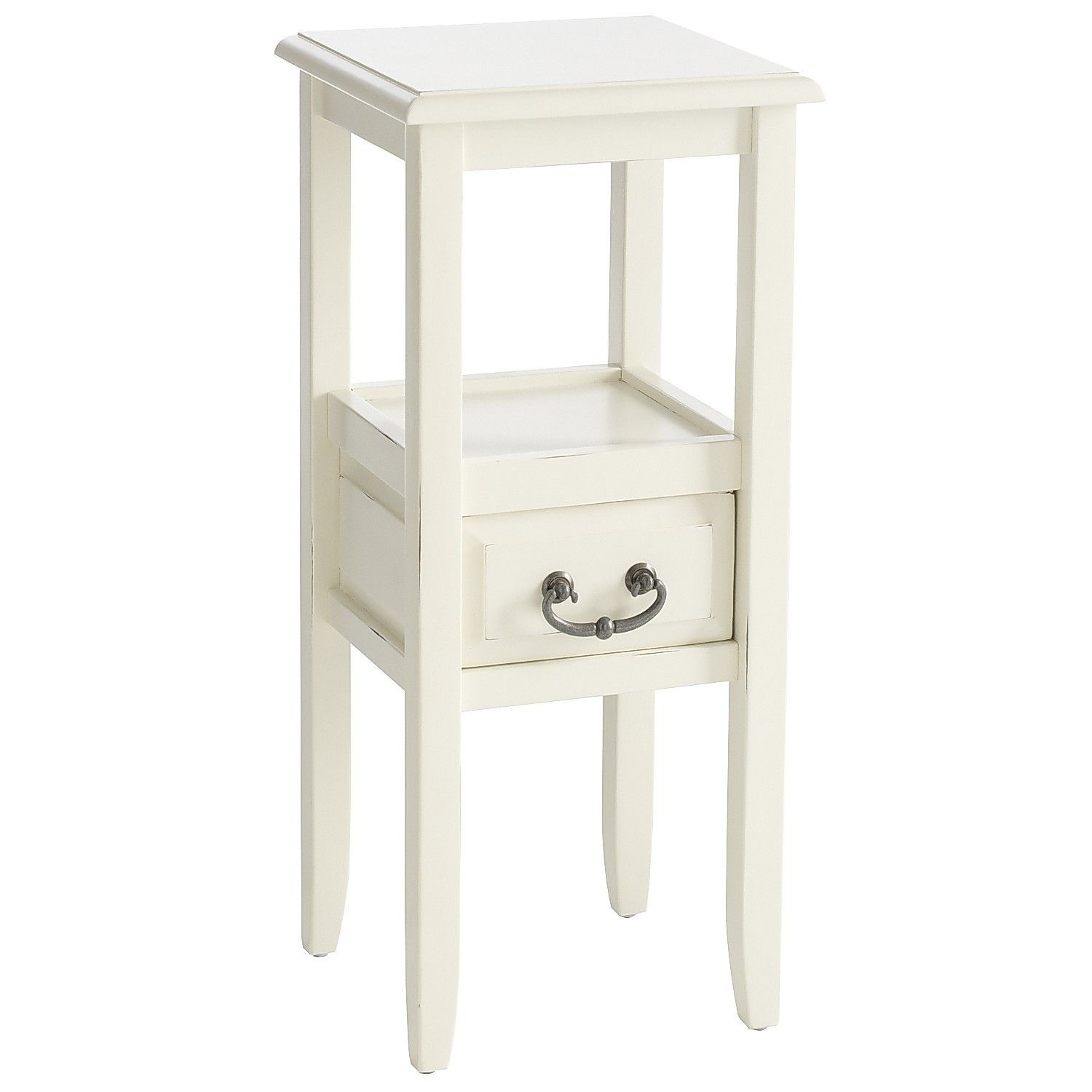 Anywhere Antique White Pedestal Table With Pull Handles Con