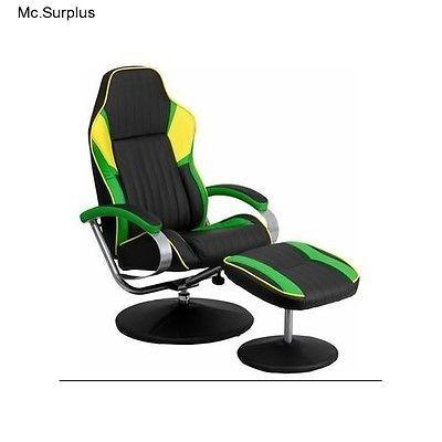 Bucket Seat Recliner Black Green Yellow Vinyl Sport Chair Ottoman Game Room  New