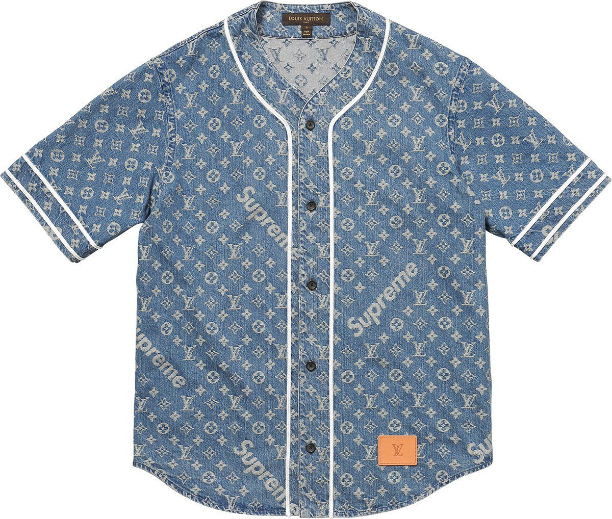 78a73abf2ab Supreme Louis Vuitton Supreme Jacquard Denim Baseball Jersey