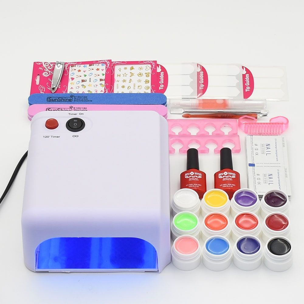 nail set 36W UV lamp nail dryer 36W & 12pcs different color pure gel ...