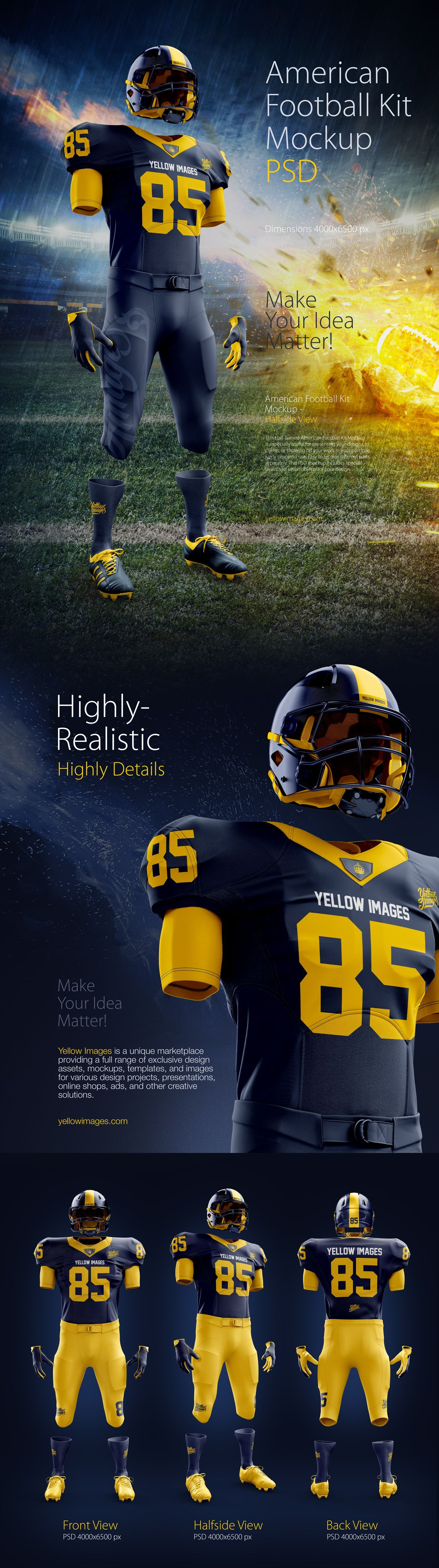 Download American Football Kit Mockup Psd Present Your Design On This Mockup Includes S Uniformes Futbol