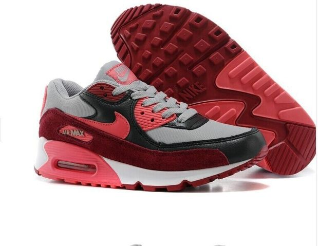 size 40 94e01 a0be0 New Nike Air Max 90 Mujeres Zapatos Gris Negro Rojo Online