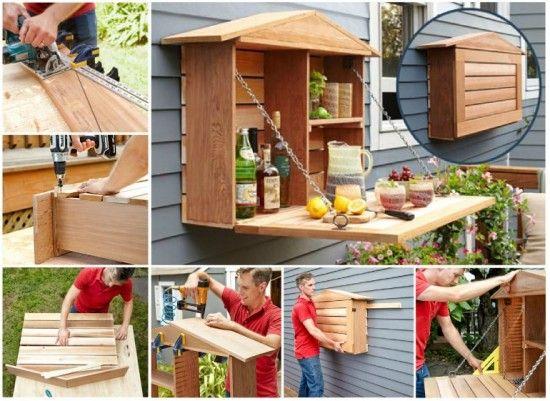 Pallet Fold Down Bar Diy Idea Easy Video Instructions Pallet Furniture Tutorial Pallet Diy Pallet Furniture Outdoor