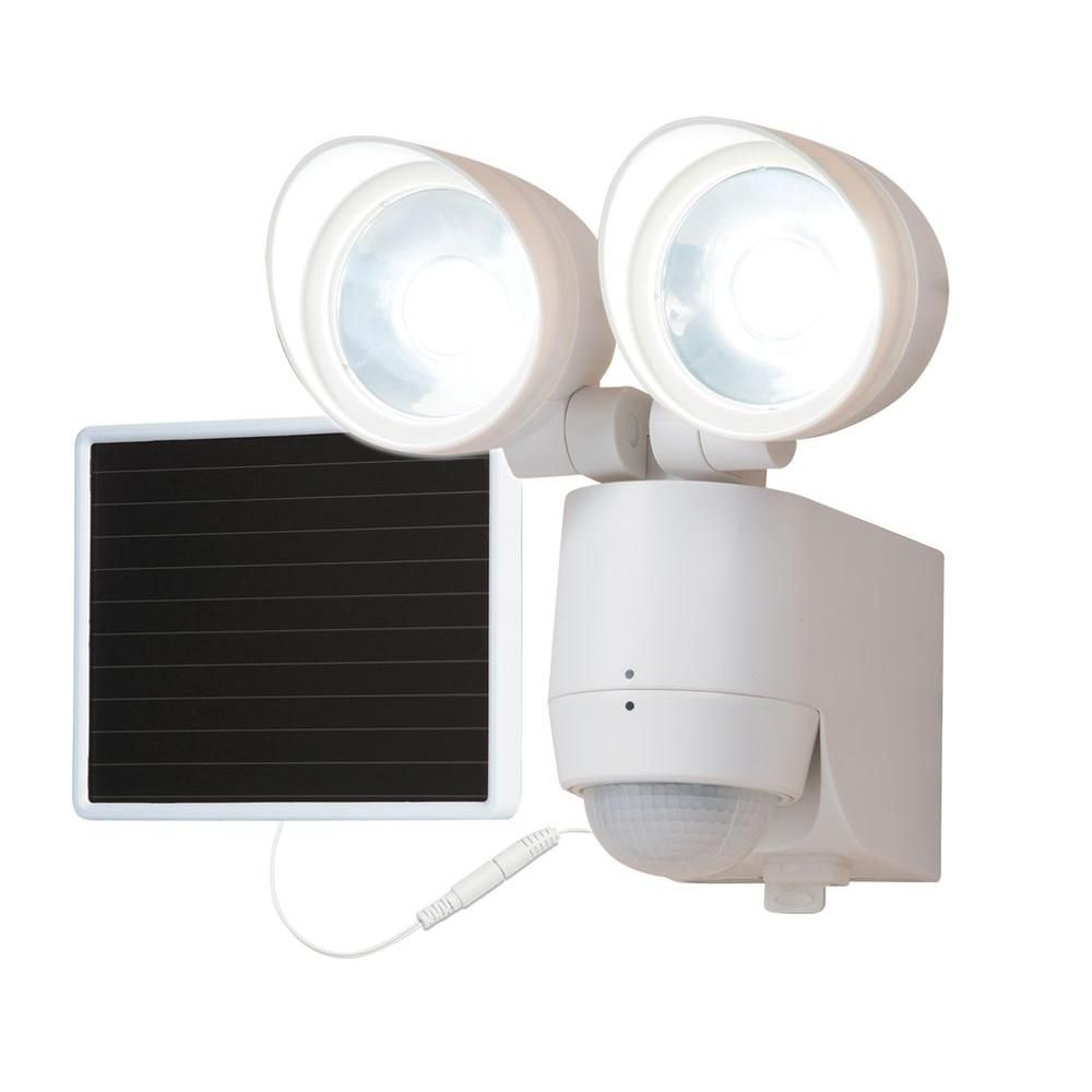 130 Degree Motion Activated Twin Head Solar Powered LED Light ...