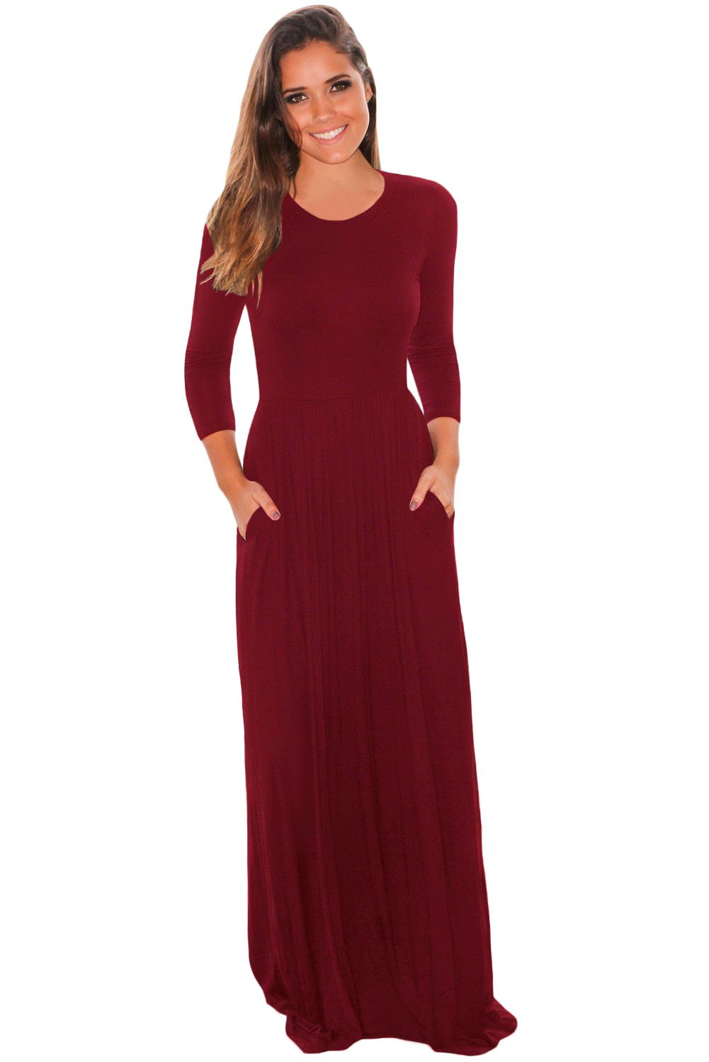 0c2ab8b112 Women Solid Burgundy Front Pocket 3 4 Long Sleeves Scoop Neck Maxi ...