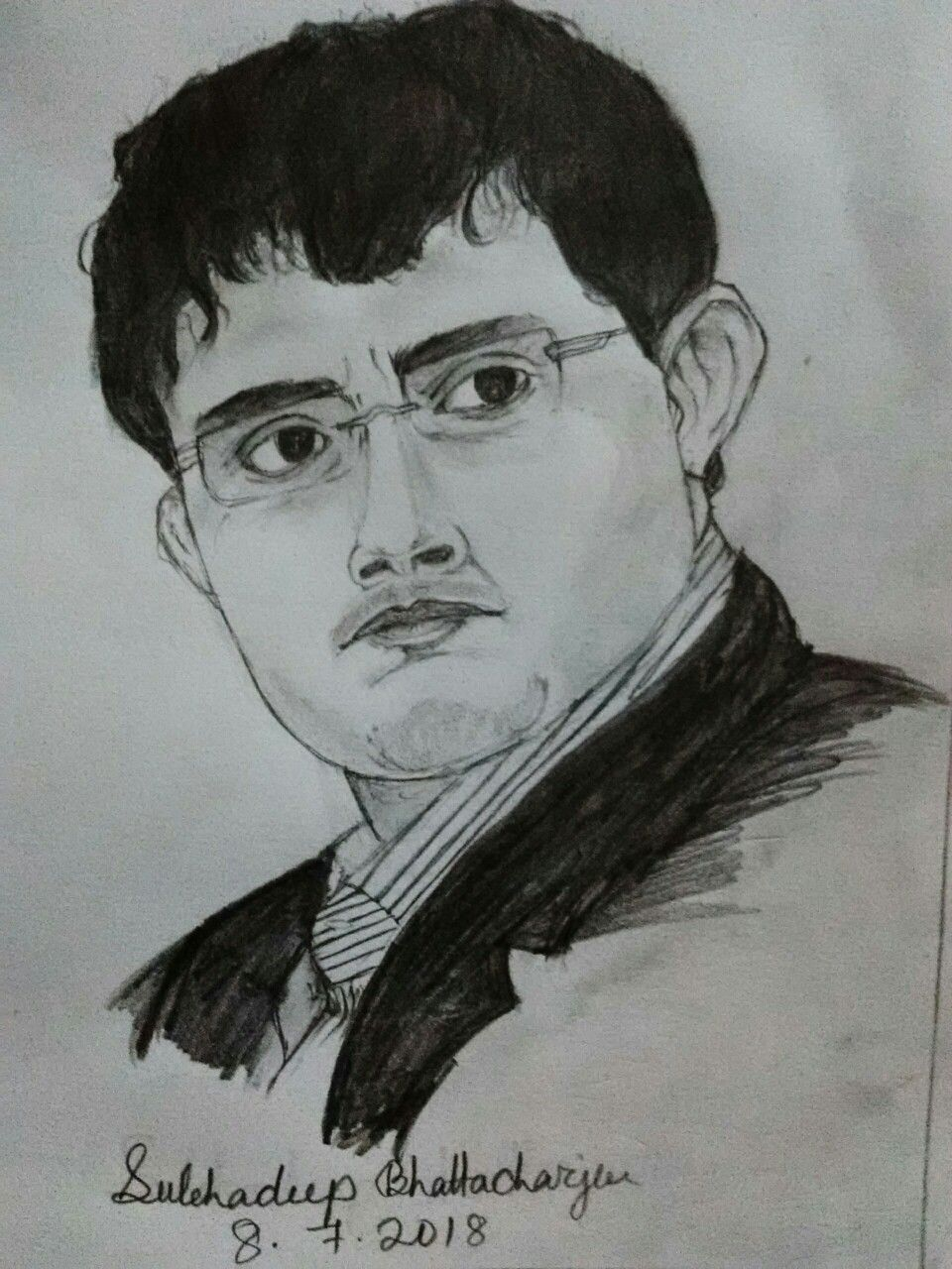 Sourav ganguly pencil sketch