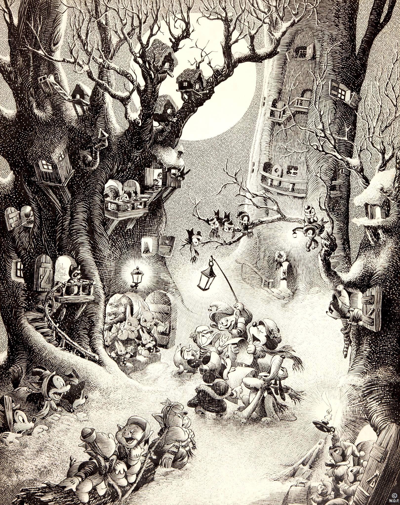 Disney Studios Christmas Carolers Illustration By Hank Porter 1938