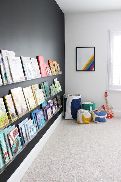 kids room decor with black wall and book shelves kids room shelf rh pinterest com DIY Bookshelves Unique Bookshelves