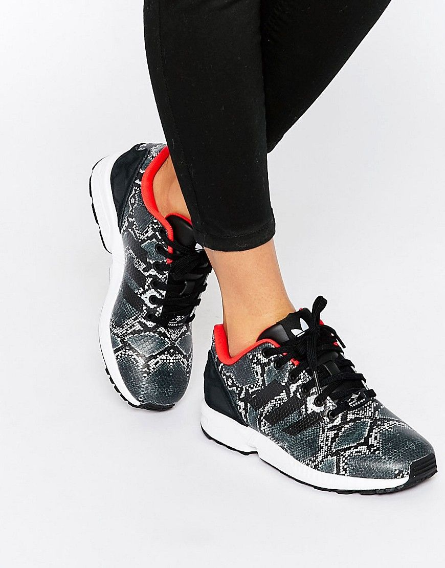 online store 4424e 7f404 Zapatillas de deporte ZX Flux de adidas. Zapatos de Adidas, Exterior de  cuero estilo piel de serpiente, Tobillo acolchado y con forma, Cierre con  cordones, ...