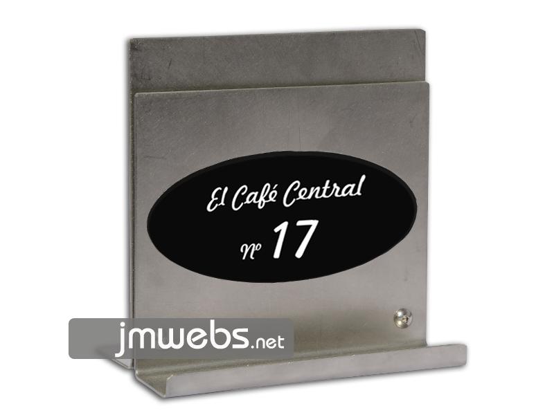 Portamenús de Acero Inoxidable de sobremesa para restaurantes. Adaptable para una o varias cartas de menús. Personalizado. Precios en www.jmwebs.net o Teléfono 935160047
