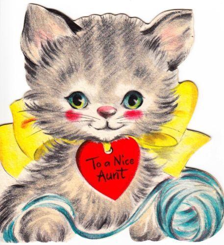 vintage greeting card cat valentine flocked kitty hallmark o346 - Cat Valentine Cards