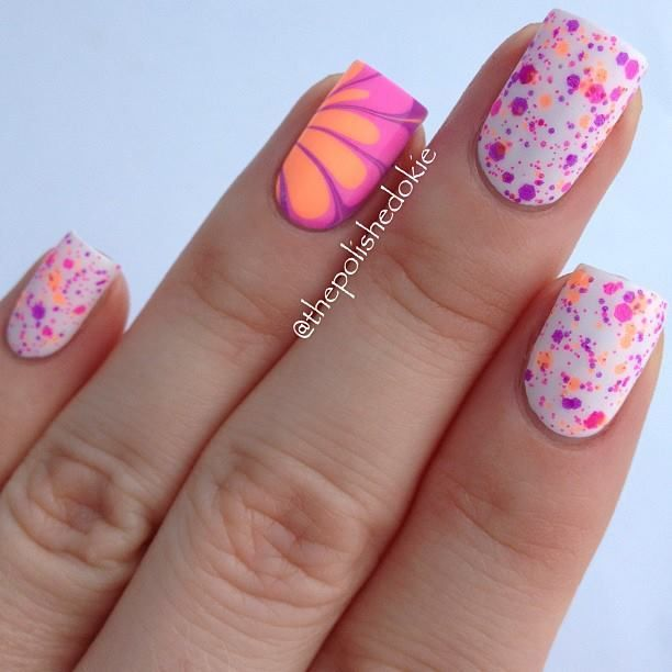 14 Amazing And Beautiful Water Marble Nail Art Designs | Nail ideas ...