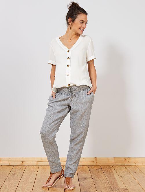 e6016933bdff Pantaloni premaman lino BLU Donna - Kiabi