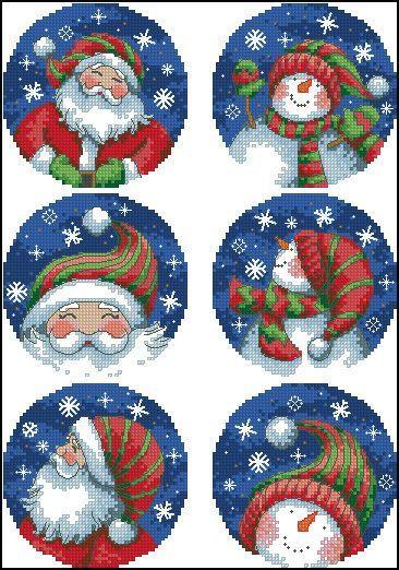 """Christmas Santa And Snowman Ornaments"" Cross Stitch Pattern Chart"