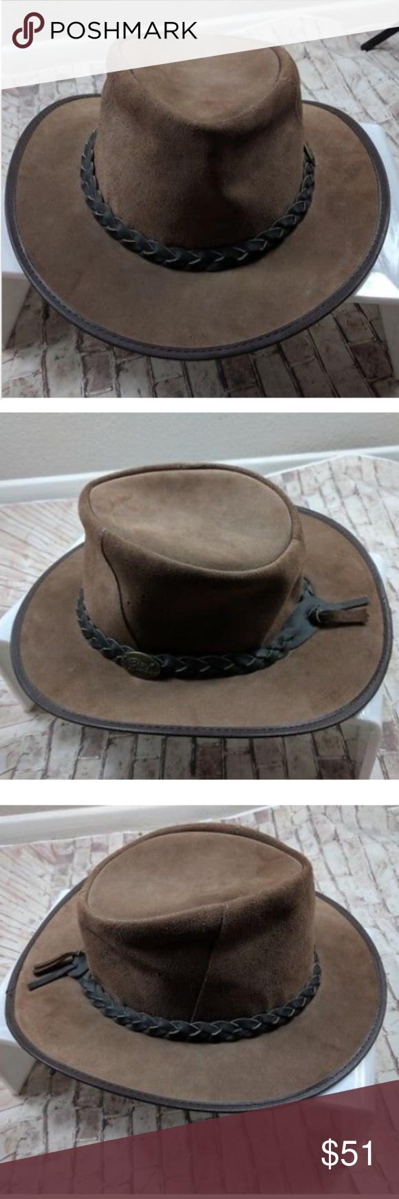Jacaru Rare Men S Leather Bushman Australian Hat Australian Hat Leather Men Leather