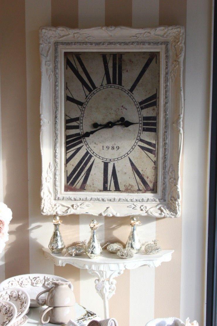 orologio da parete rettangolare cornice legno decapato provenzale ...