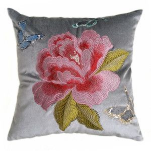 Embroidery Flower Velvet Pillow Case on Made-in-China.com
