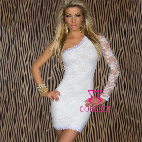 3731 white sexy lace off shoulder mini dress costume yellow black ...