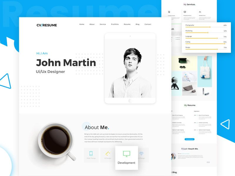 Web Resume Template Modern And Interactive Web Resume Template  Free Font  Pinterest