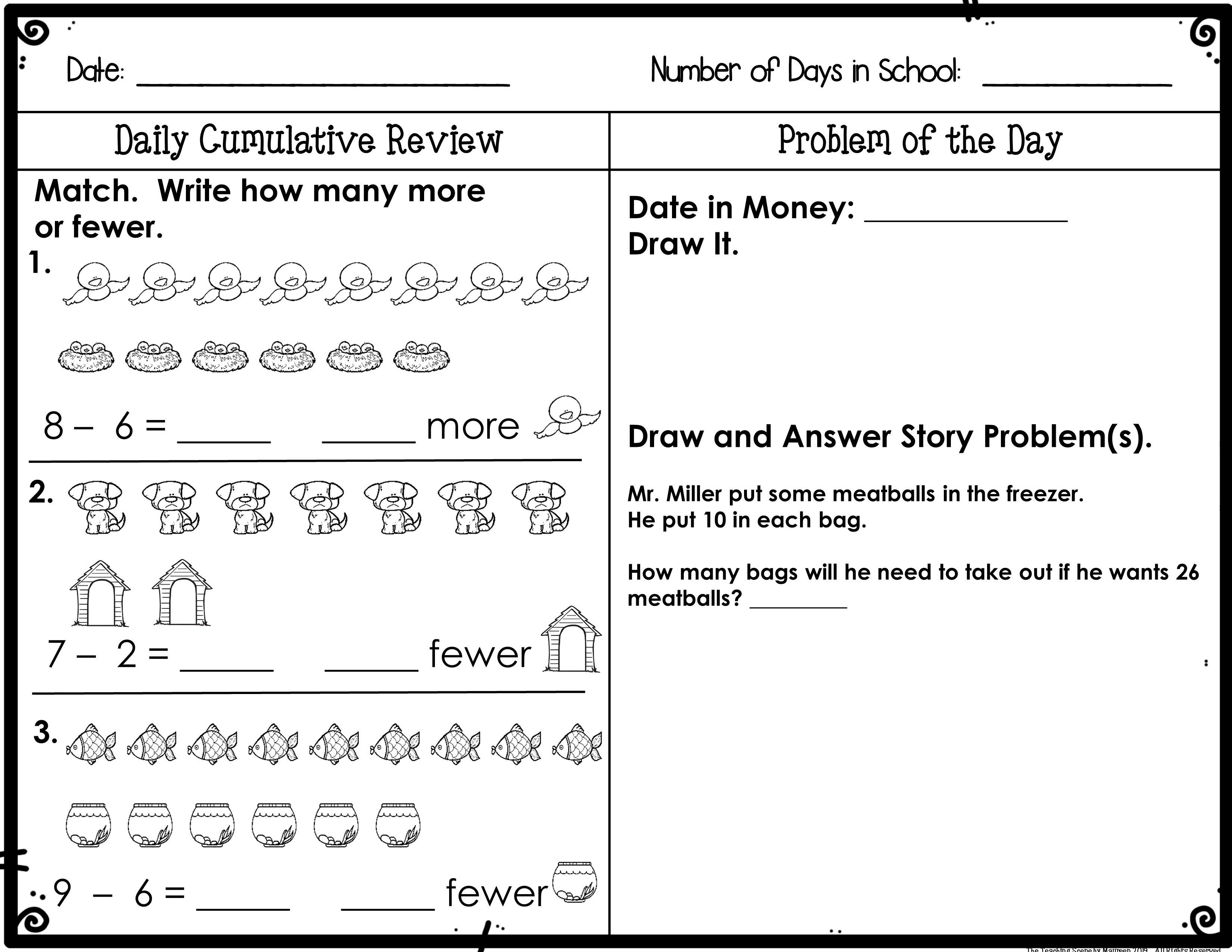 First Grade Daily Calendar Math Review Booklet November With