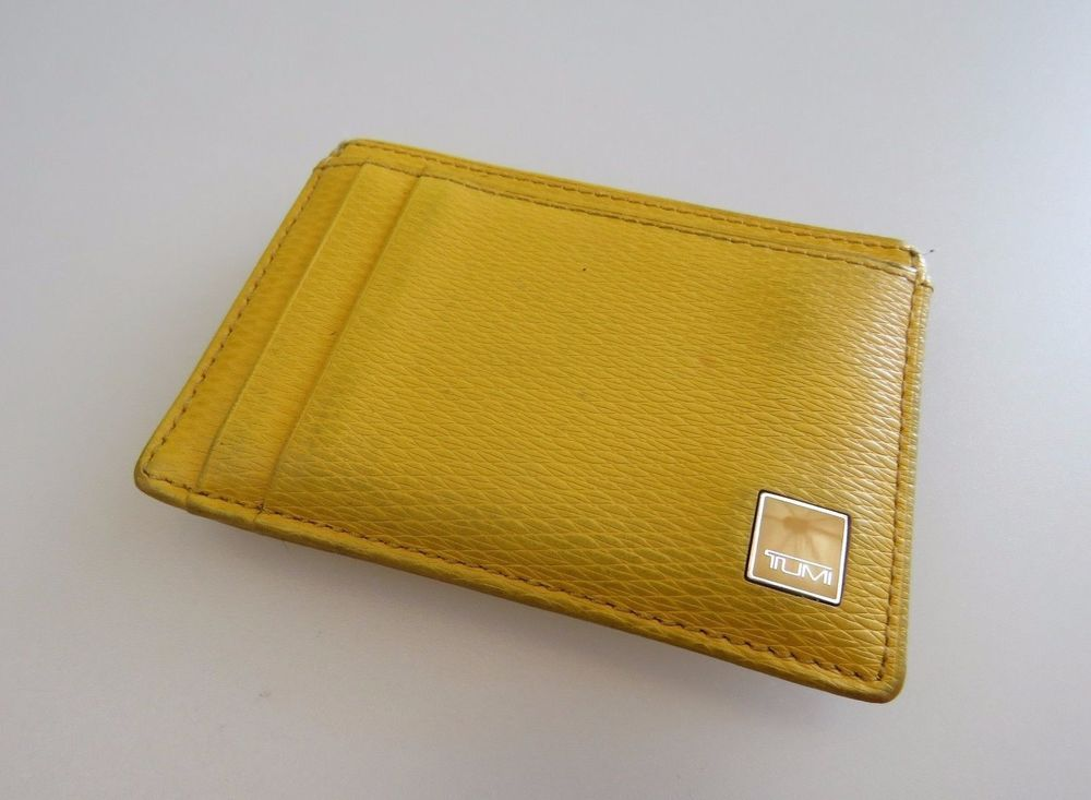 26e2aba4060f TUMI Yellow Leather Money Clip Small Slim ID Cash Wallet Men s Women s  Unisex…
