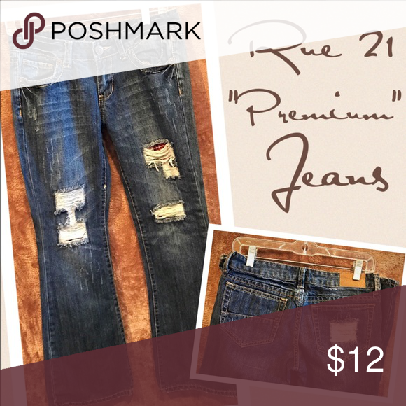 """Rue 21 premiere destroyed distressed boot cut Good condition   29 1/2"""" inseam Rue 21 Jeans Boot Cut"""