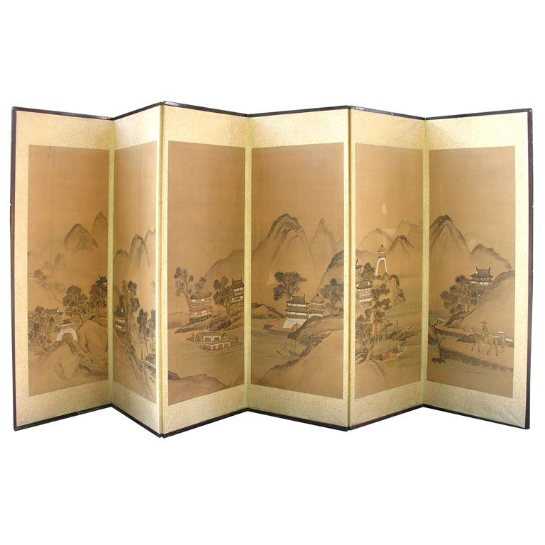Painted Rice Paper Wood Screen Byobu 1stdibs Com Wood Screens Modern Classic Interior Japanese Screen