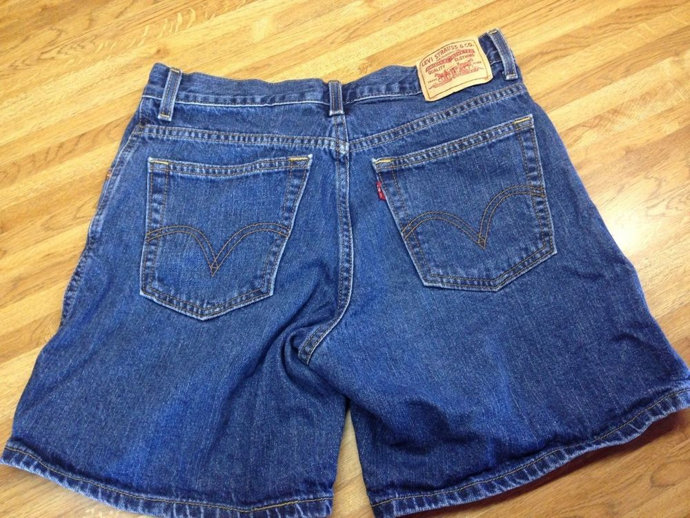 def746678 Womens Levi's 550 Relaxed Fit Stretch Jean Shorts Size 10 Blue ...