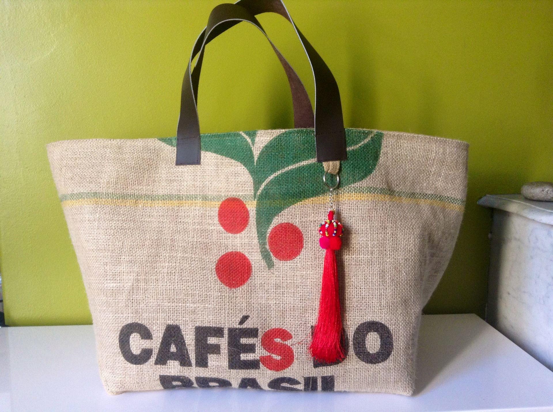 grand sac cabas caf do brasil autres sacs par bo comptoir couture pinterest. Black Bedroom Furniture Sets. Home Design Ideas