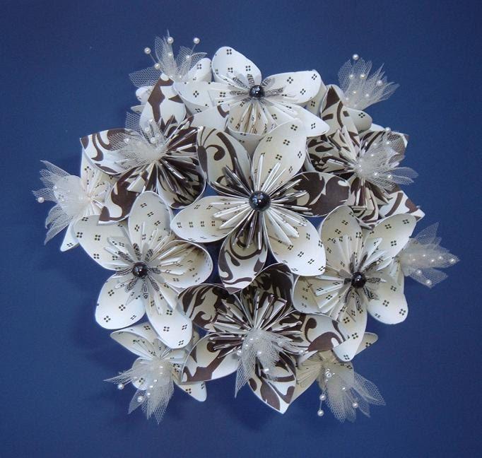 Paper Flower Bouquet - Kusudama - Black, Dark Brown, Ivory - 13 ...