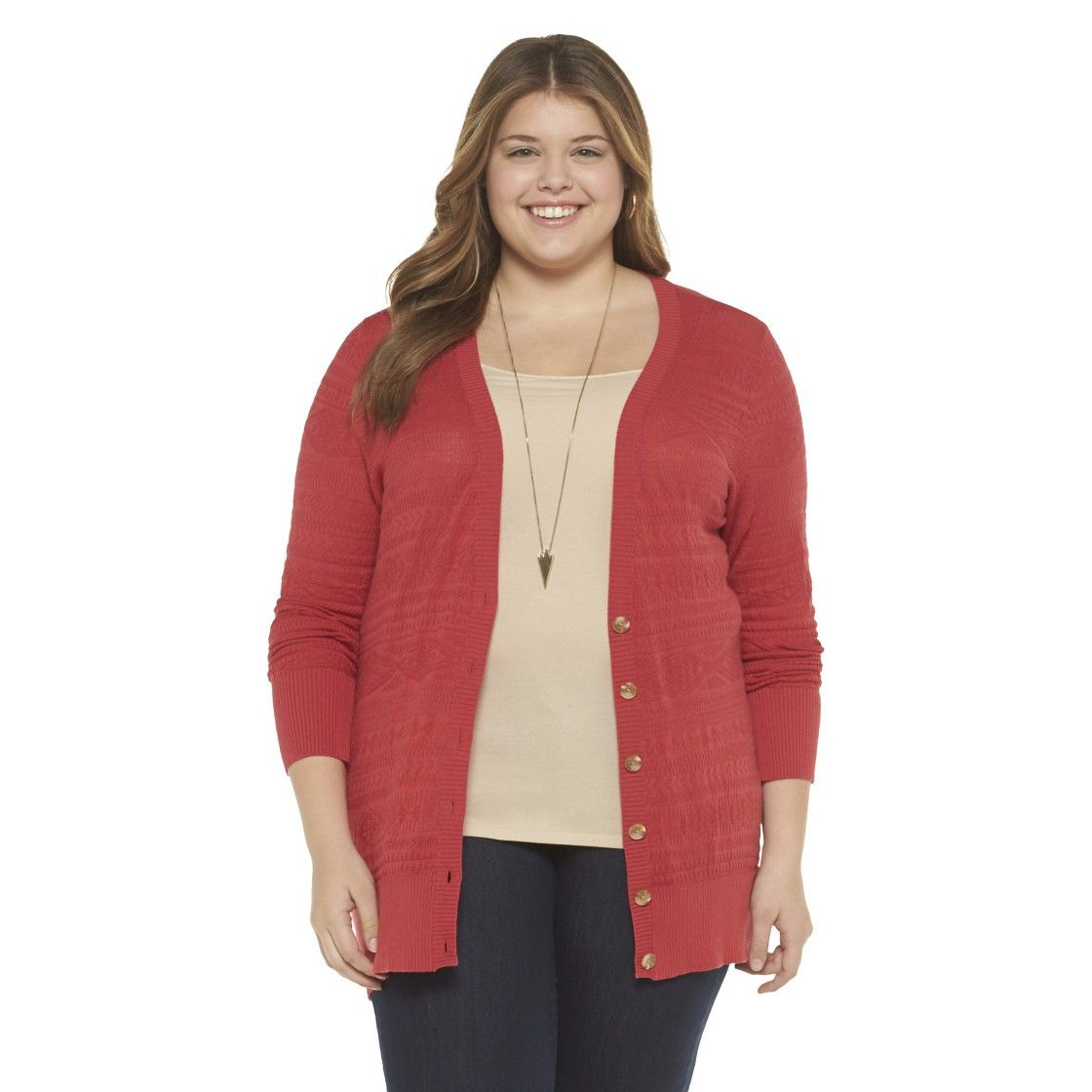 Plus Size Long Sleeve Boyfriend Cardigan Sweater Red -Mossimo ...