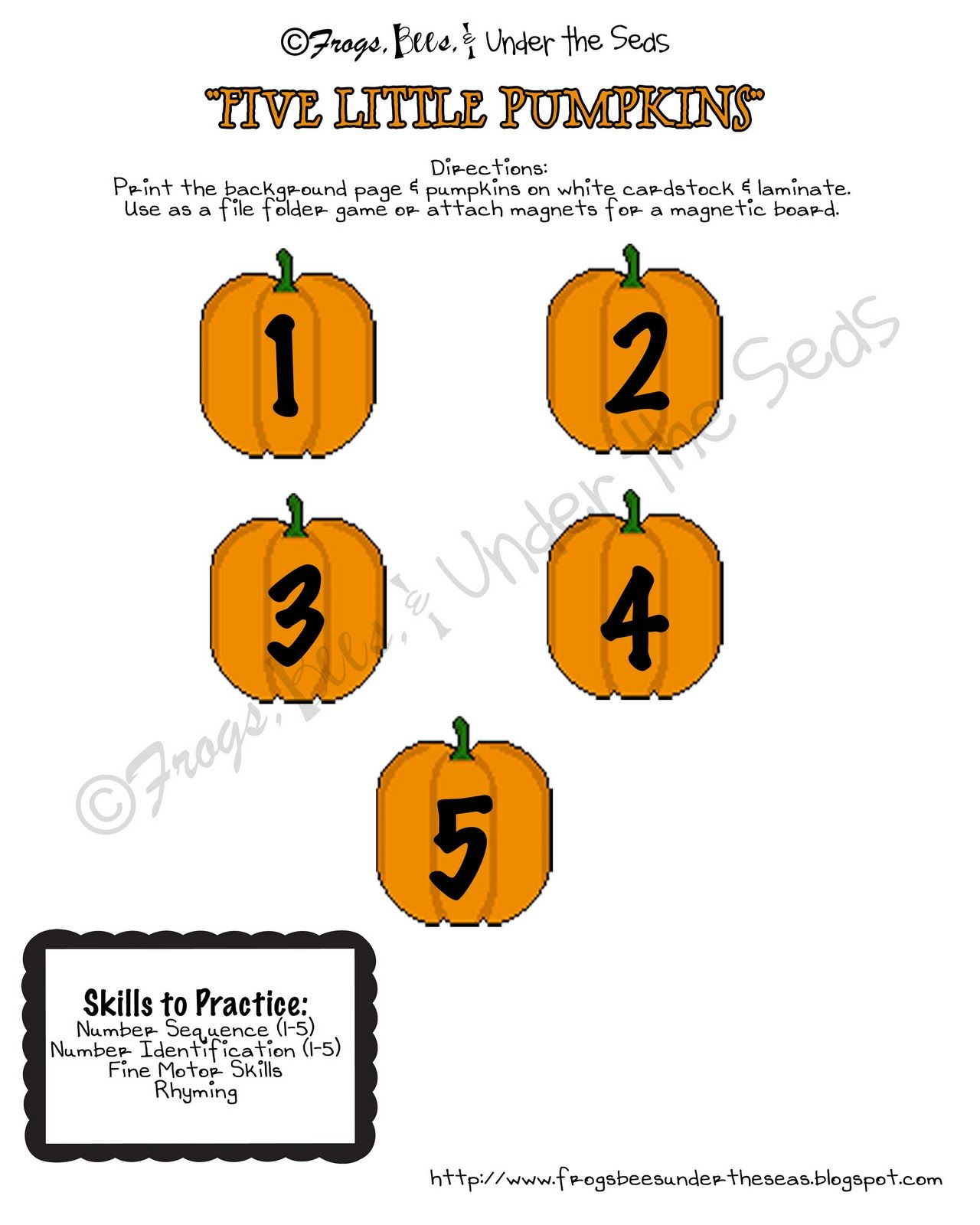 Five Little Pumpkins Sitting On A Gate Printable