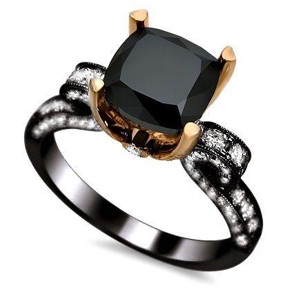 3.15ct Black Cushion Cut Diamond Engagement Ring 18K Rose Black Gold Rhodium Plating Over White Gold