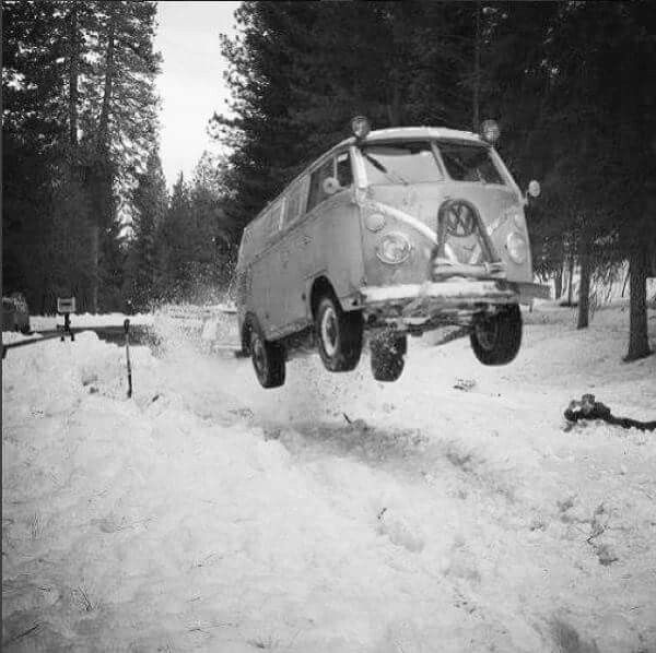 VW T1 FLYING IN THE SNOW!!
