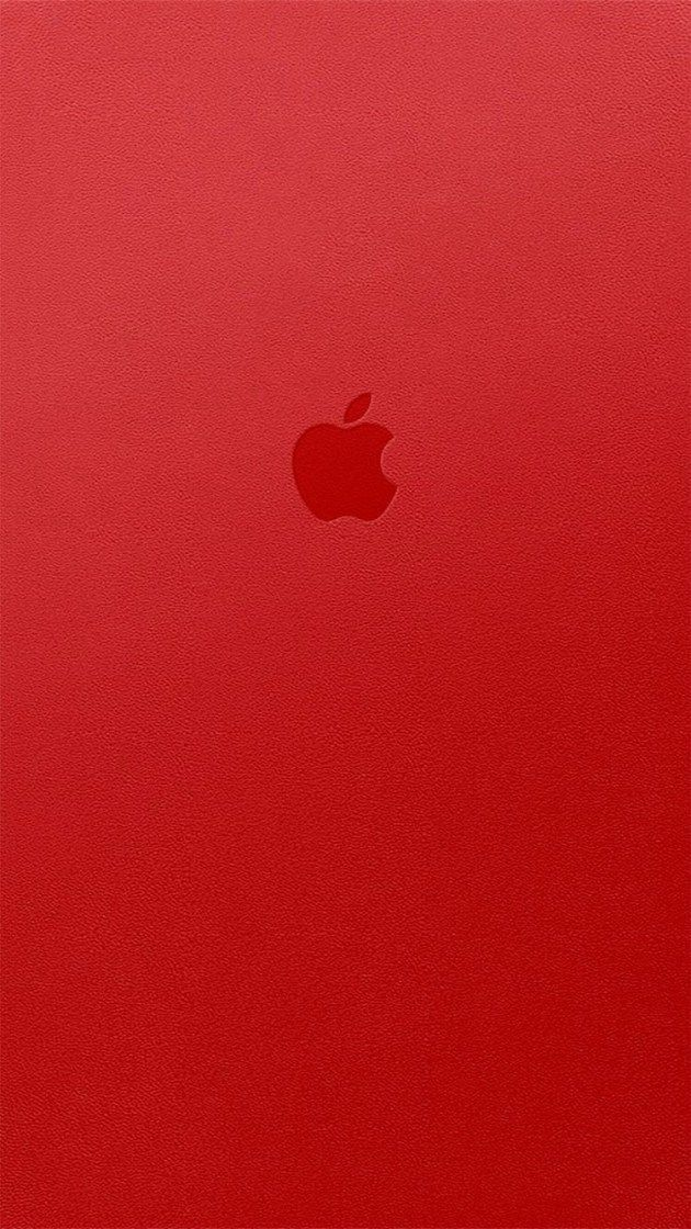 Appleロゴレッドレザー iPhone壁紙 Wallpaper Backgrounds iPhone6/6S and Plus